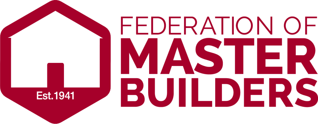 """Federation of Master Builders logo """"Federation of Master Builders Est.1941"""", Modern Kitchen fitting in progress, green walls, white dated worktops, exposed fittings, power tools, KL and Sons Building Services, Devizes, Marlborough, Calne, Bath"""