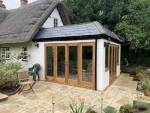 White brick Thatched cottage with orangery extension, KL and Sons Building Services, Devizes, Marlborough, Calne, Bath